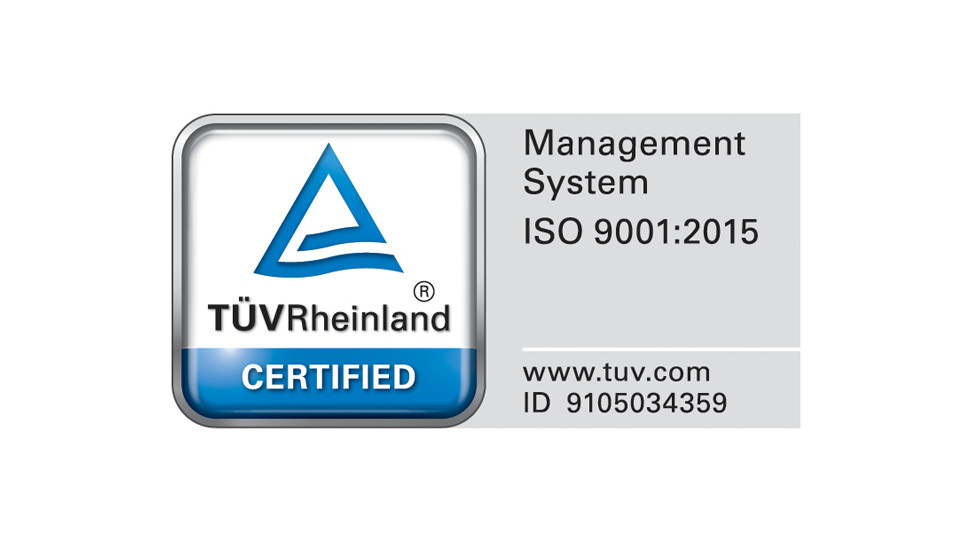 TUV Rheinland Certified management system according to ISO 9001:2015 ID 01 100 054350.
